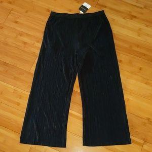 TopShop accordion pants wide leg black shimmer 8